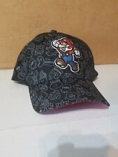 Nintendo Super Mario Cap Hat Large Size Stretch to Fit Black with White Doodles