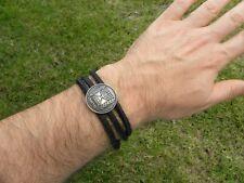 Jewish wrap bracelet Israel coin Menorah Leather nice gift for men Hanukkah