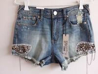 Grace in LA Womens Size 26 Mid Rise Embellished Frayed Medium Blue Denim Shorts