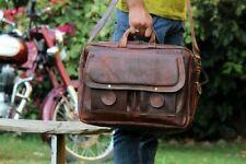 Large Real Goat Leather Vintage Brown Messenger Shoulder Laptop Bag Briefcase