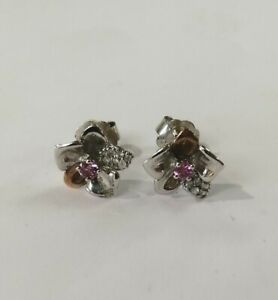 Welsh Clogau Gold Silver & Rose Gold Orchid Stud Earrings