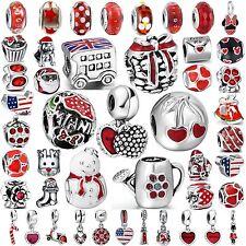 Hot Sale Red Enamel Women Jewelry Bead Charms Fit 925 Silver Bracelets Bangles