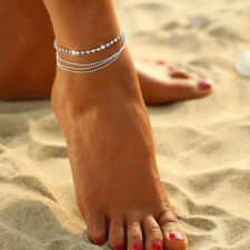 Silver Knöchel Armband 4-Schicht Frauen Fußkette Fuß Schmuck verstellbar Kette