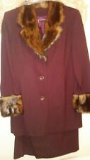 Terry Lewis Classic Luxeries 2P Jacket Skirt wine Suit Faux Fur Trim Small NWT