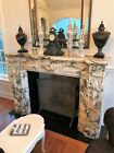 Magnificient Hand Carved Italian Marble Fireplace Mantle