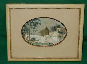 Seidenbild Seide Seidenweberei Sachsen um 1900 Burg Schloss