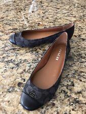 New Womens Chelsea Black Coach Signature C Logo Ballet Flats Slip on Loafer Sz 6