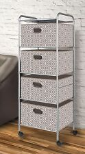 New 4 Large Fabric Bin Drawers Scrapbook Supply Utility Storage Cart Rolling 47""