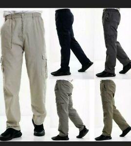 Men' New Elasticated Cargo Combat Work Cotton lightweight Trousers Pants Bottoms