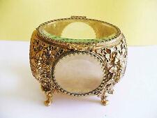 Vintage Elaborate Ormolu Jewelry Casket Trinket Box Quality Heavy Beveled Glass