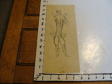 Miller Richardson art: # 167 : SKETCH ON TRACING PAPER OF ELONGATED MERMAN, NUDE