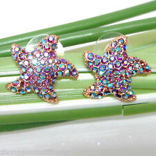 Navachi Starfish Sea Star 18K GP Purple Crystal Ear-Nail Earrings BH1374