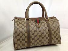 Authentic Gucci GG pattern Boston Hand Bag Brown Vintage 7E030140#