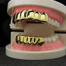 Custom 14K Gold Plated Hip Hop Teeth Grillz Top & Bottom Grill Set w/ Tools