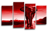 Elephant Canvas Wall Art Picture Large Grey Red Sunset Reflection Split Panel