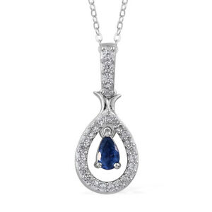 Natural Blue Sapphire Pendant Necklace Platinum Over Sterling Silver 0.51 ctw