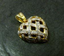 Goldanhänger mit Diamanten Herz 333er Gold Anhänger Gelbgold Weißgold 8 Karat