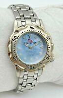 Vintage 1990-2000s Women's FREESTYLE Silver Tone Diver Style Watch Blue MOP Dial