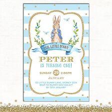 Peter Rabbit Invitation 1st Birthday Blue Gold Baby Shower Party Invite Baptism
