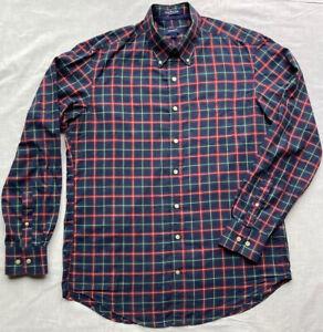 GANT Oxford Shirt L Large Navy Red Green Tartan Check Long Sleeve Cotton Twill