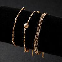 Fashion Women Girls Alloy Charm Cuff Bracelet Bead Bangle Gold Chain Jewelry