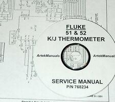 FLUKE 51 & 52 K/J THERMOMETER Service Manual (w/ schematics)
