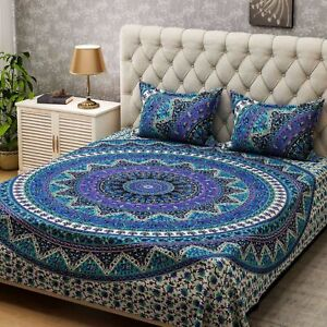 Multi Color Queen Size Bed Cover Sheet Bedding Set With Two Pillow Case Cotton
