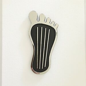 Old School Big Foot Gas Pedal Cover- Chrome/Black- Hot Rod/ Drag