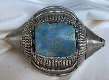 Antique Tibetan Silver & Turquoise Hair Bead Pendant Late 19th Century