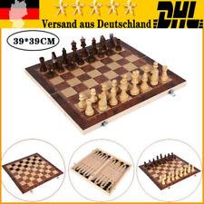 39*39CM Schachspiel Geschenk Schach Spielbrett 3 in 1 aus Olivenholz Backgammon