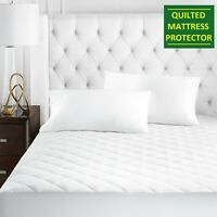 "LUXURY QUILTED MATTRESS PROTECTOR 12"" FITTED BED COVER SMALL DOUBLE SUPER KING"