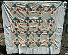 Antique Vintage Mid to Late 1800s Quilt Top Turkey Red Cheddar Carolina Lily