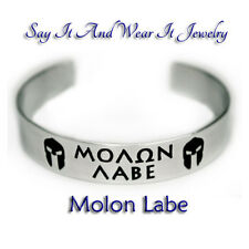 Molon Labe with Helmets  Handmade Engraved and Polished Bracelet