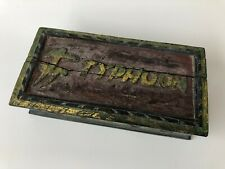 Antique Oriental Chinese Japanese Asian Hand Carved Wooden Box Typhoon - Rare