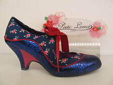 Poetic Licence by Irregular Choice Schools Out Navy Pink Lace Up Ladies Shoe