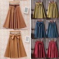 Vintage Midi Skirt Summer Women Casual High Waist Pleated A-line School Dress H1