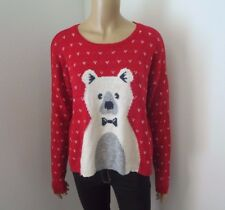 NWT Hollister Womens Polar Bear Sweater Size Medium Red Hearts