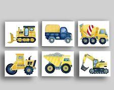 Construction Car Tonka Truck Baby Boy Nursery Wall Art prints Decor set