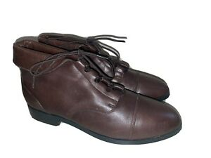 NEW Vintage 80's Prima Royale Brown Leather Lace Up Ankle Boots 8 M