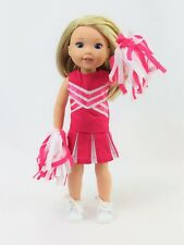"""Hot Pink Cheerleader Outfit Fits 14.5"""" Wellie Wisher American Girl Doll Clothes"""