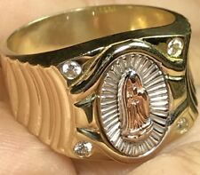 Virgin Mary Guadalupe Men ring 10k Real GOLD Manmade diamond 10 8 9 11 12 8.5g
