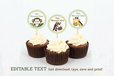 Safari Jungle Animals Cupcake Toppers Party Favor Tags Editable PDF