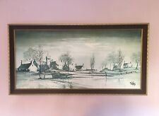 RARE Large 1976 Vintage Wood & Cloth Framed Board Mounted Print By Ron Rolland