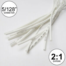 """5/128"""" ID White Heat Shrink Tube 2:1 ratio wrap (14x9""""= 10 ft) inch/feet/to 1mm"""