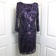ADRIANNA PAPELL Purple Beaded Sequin Embellished Evening Party Dress Size UK 14