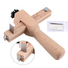 Wooden Leather Strap Strip Cutter Leathercraft Hand Cutting DIY Tool w/ 5x Blade