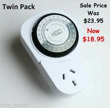 Timer Switch HPM Twin Pack 24 Hour Manual On Off Power Heater Light Mechanical A
