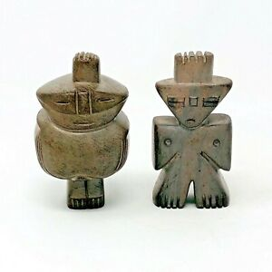 Pair Of Vintage Hand Carved Stone Mythological Figurines Artist Marked Venezuela