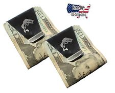 X20   New Slim Double Sided Money Clip With Largemouth Bass   BULK 20 FOR $20.00