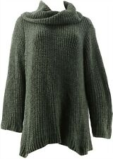 Denim & Co Chenille Cowl-Neck Long-Sleeve Sweater Meadow Green 3X # A346248